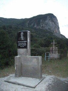 A monument of a local hero named Mrishaj, built on occasion of 100th anniversary of an important battle.