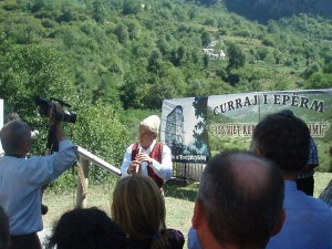A local man playing flute during the festival.