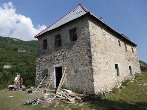 The church from outside during the repairs.